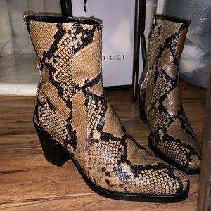 Zara Shoes - ZARA SNAKE SKIN PRINT LEATHER BLOCK HEEL BOOTS